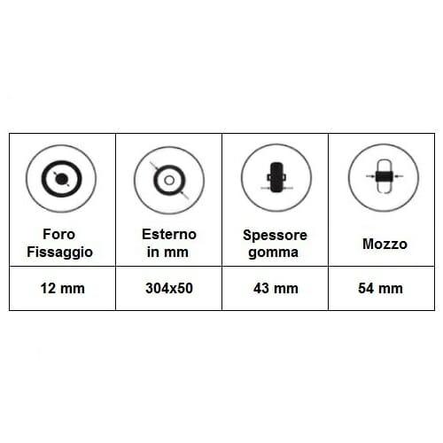 """06033033 Ruota 12"""" poliuretanica per montaggio laterale"""
