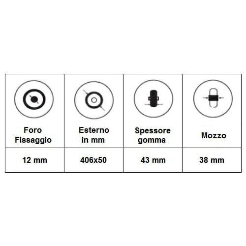 06069020 Ruota 16′ poliuretanica per montaggio laterale