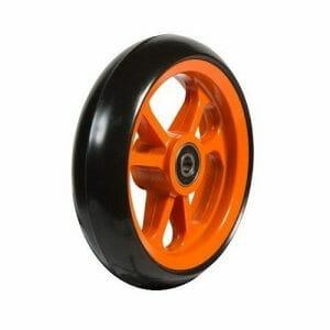 06033241 Ruota 4' in gomma nera cerchio arancione
