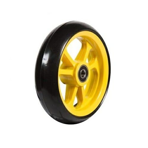 06033251 Ruota 4' in gomma nera cerchio giallo