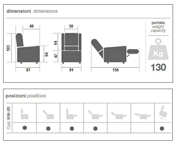Poltrona Relax 2 motori K56-2R KSP
