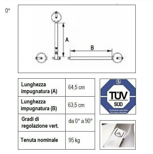 Maniglione con snodo per inclinazione regolabile ALL086H6