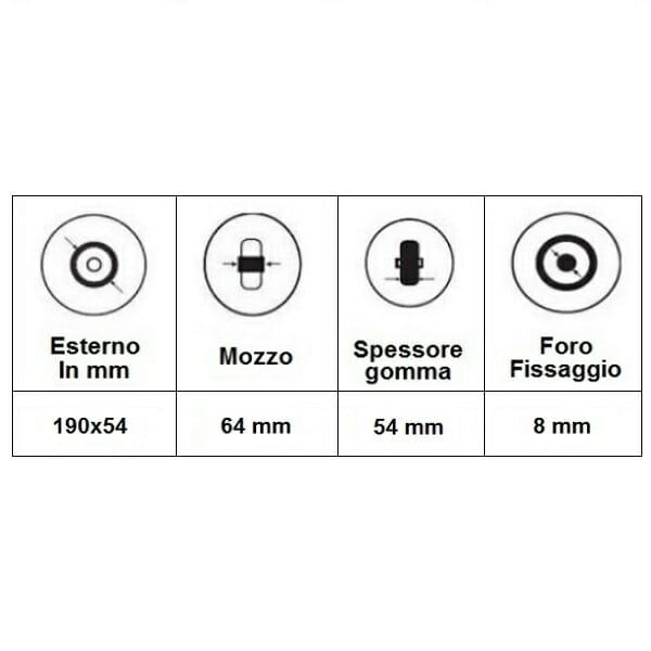 Ruota posteriore 8' per Salsa M2 06004003